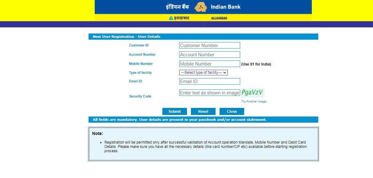 Allahabad net banking user register