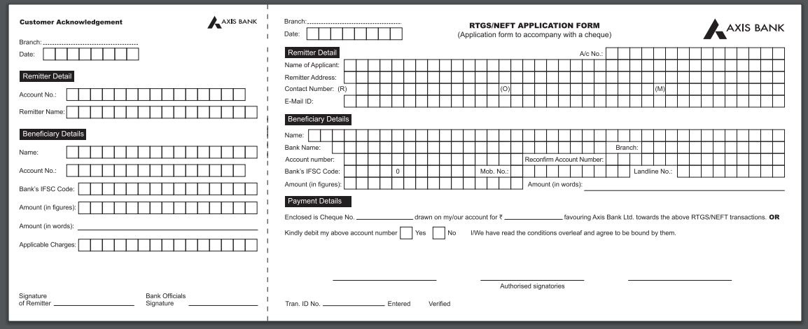 Axis RTGS NEFT form