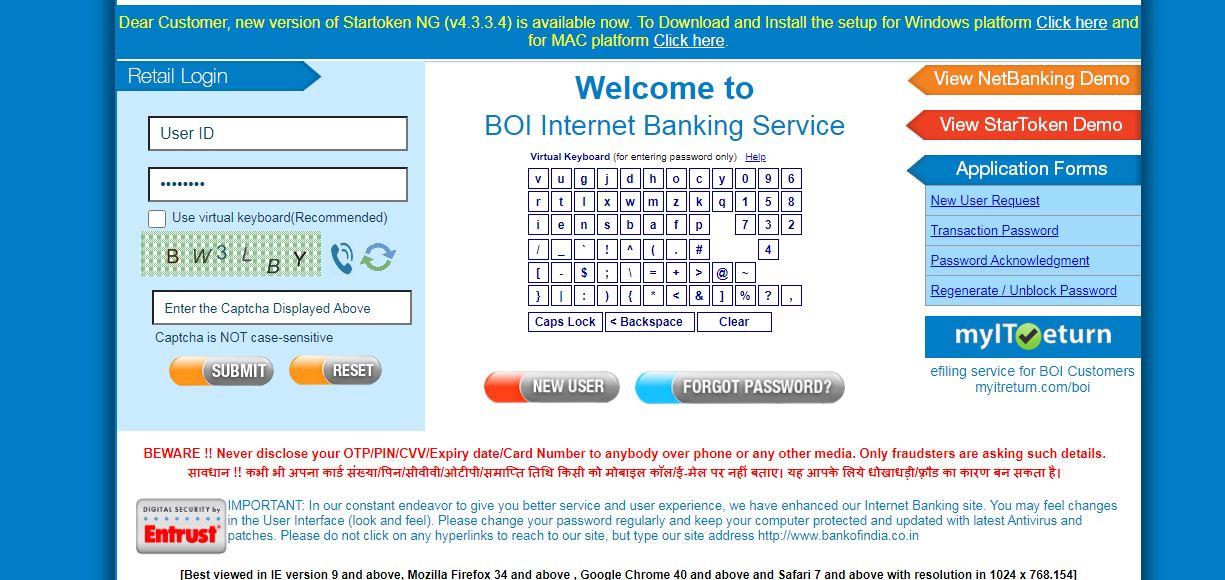 BOI reset password