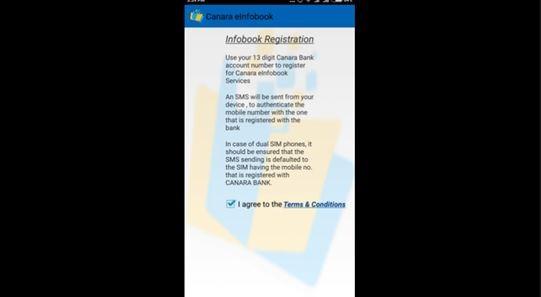 Canara Bank mobile application registration
