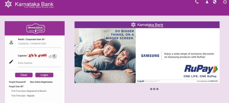 Karnataka Bank new online register