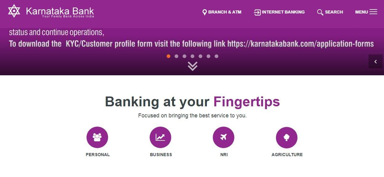 Karnataka Bank personal banking