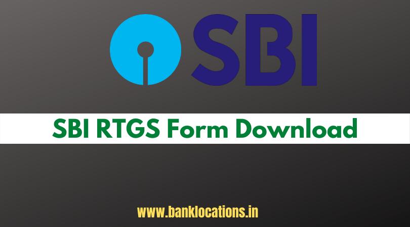 SBI RTGS Form Download