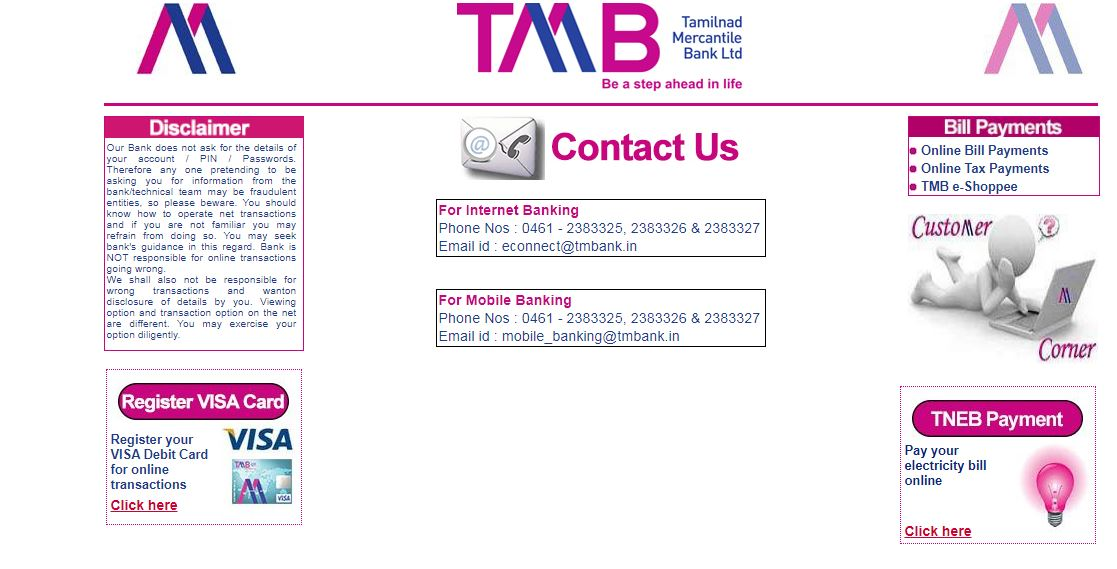 tmb customer care numbers