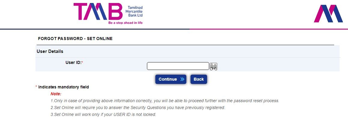 tmb forgot password online mode