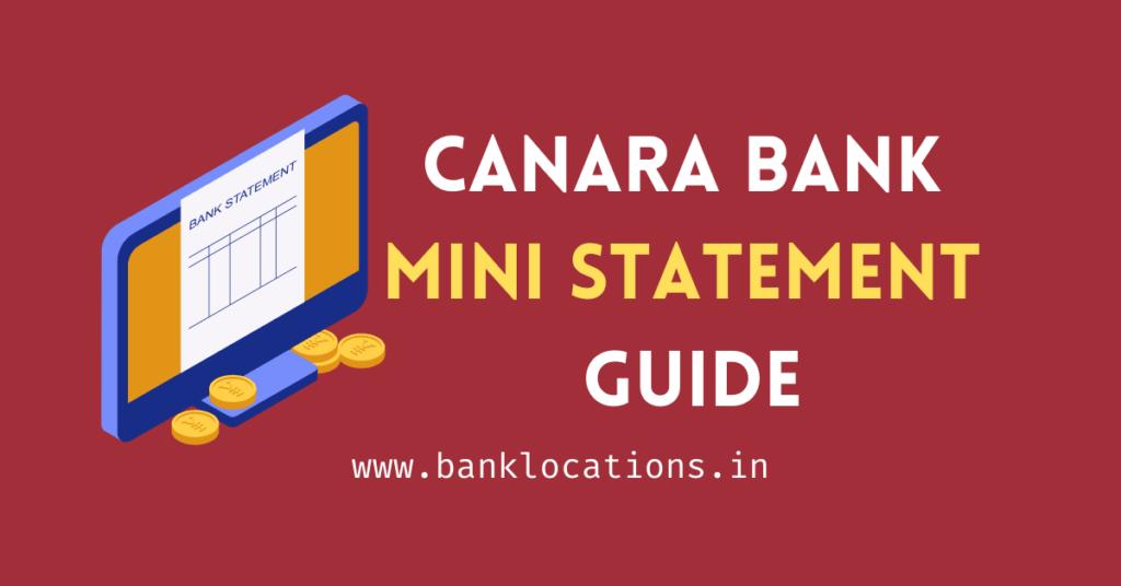 Best Canara Bank Mini Statement Guide & Balance Check 2021
